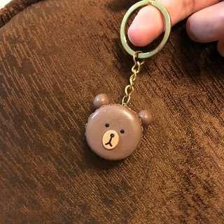 手工製熊大馬卡龍鑰匙圈