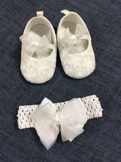 Baby Shoes with Hairband set