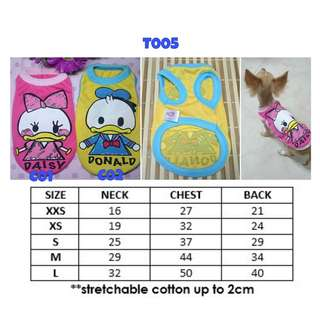 Dog Cats Pets Clothes DONALD DUCK DAISY DUCK
