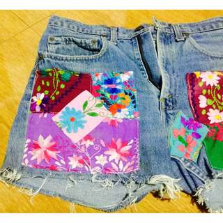 HW patched denim shorts