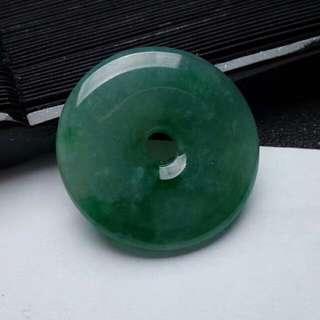 冰潤滿綠翡翠平安扣