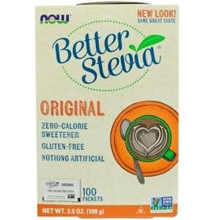 Now Foods, 優質甜葉菊,零熱量甜品,原裝,100包,3.5盎司(100克)
