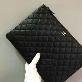 Chanel Caviar Large O Case Black