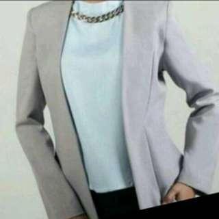 Blazer formal jas kerja wanita abu-abu
