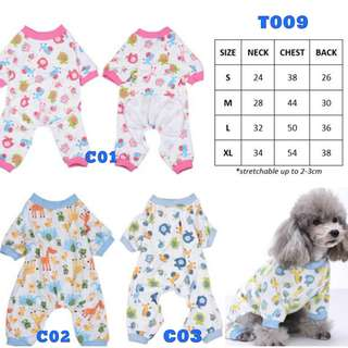 Dog Cat Rabbit Pet Clothes Pyjamas Pink Blue Animals