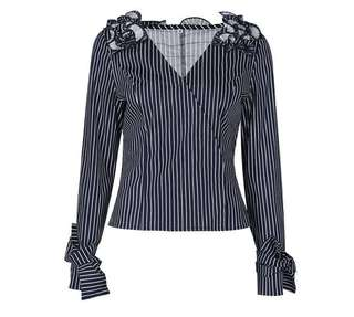 PO - Blue Pleated Patchwork Sexy V-Neck Stripe Slim Blouse