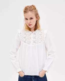 European and American style romantic lace hook flower hollow embroidery shirt shirt blouse