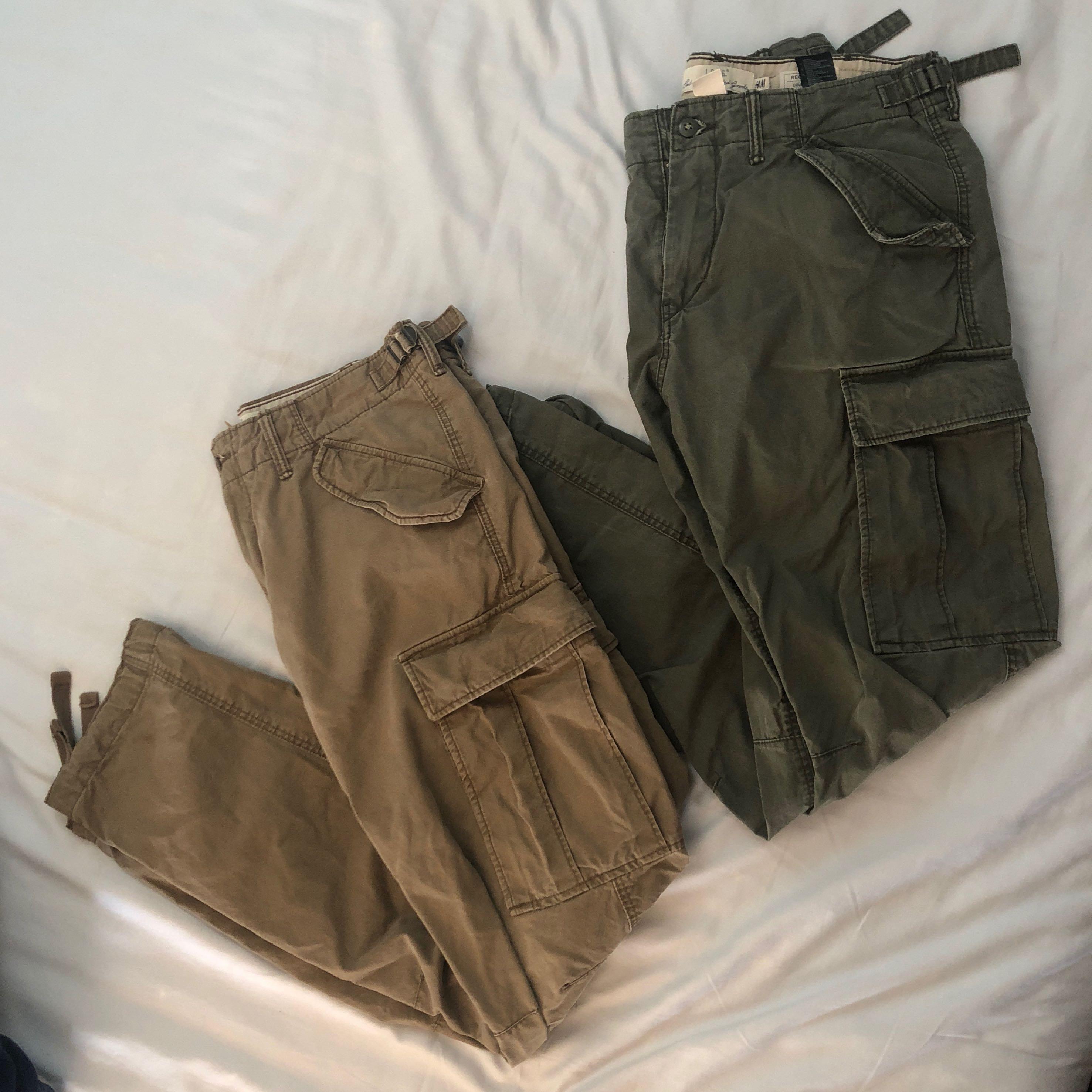 2 mens cargo pants (green & beige)