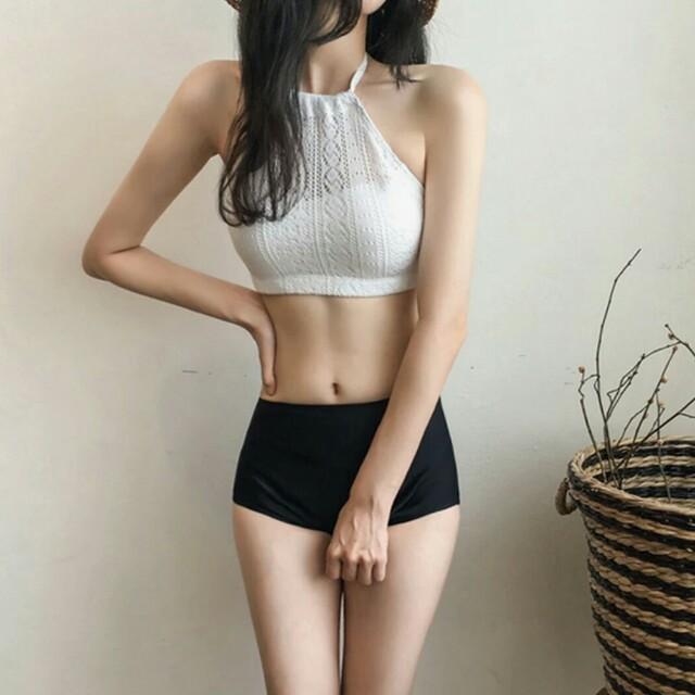 現貨韓版小清新蕾絲透膚兩件式泳裝