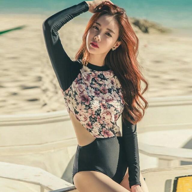 現貨🌸韓版碎花顯瘦修身連身泳衣
