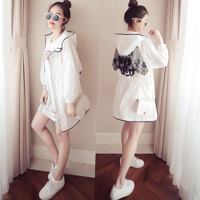 韓版氣質女裝薄款蕾絲防曬連帽外套棒球外套罩衫