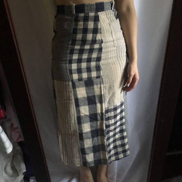夏日棉麻拼布高腰長裙