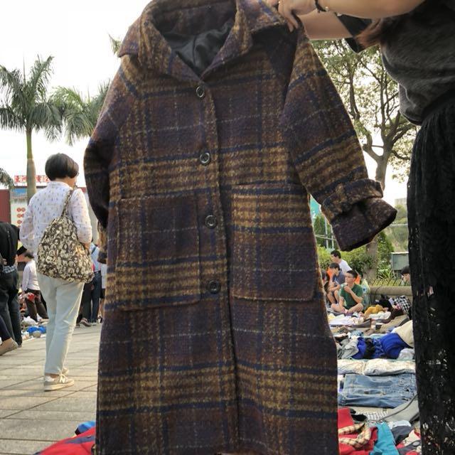 黃綠藍格紋毛呢縮袖大衣