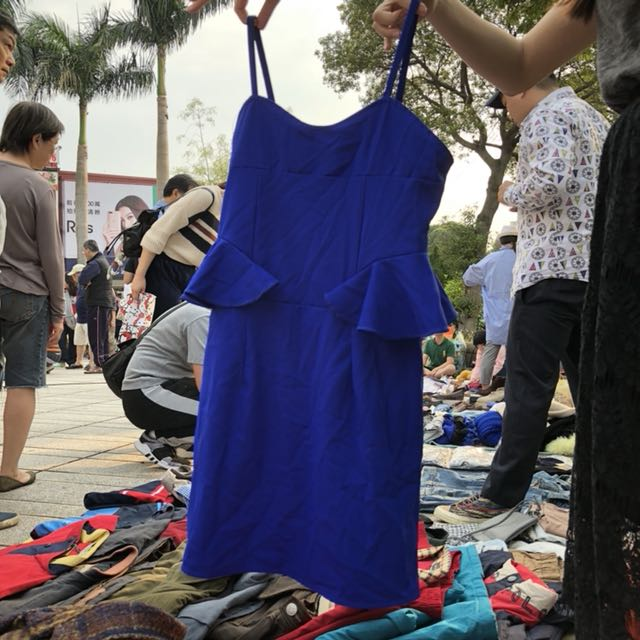 寶藍細肩帶洋裝