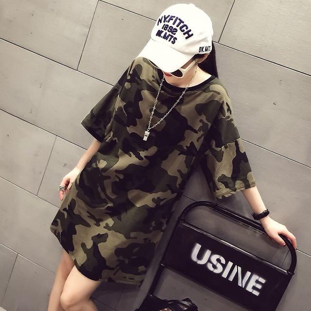 (特價)韓版休閒寬鬆女裝迷彩短袖長版上衣連身裙洋裝