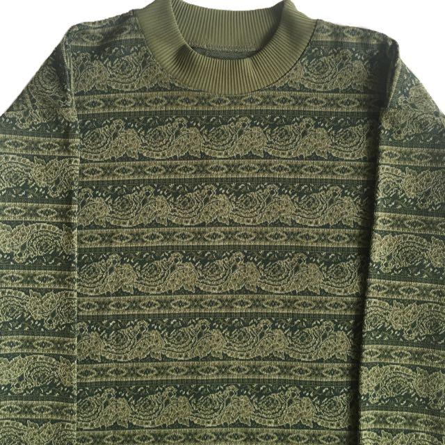 顛復古⚡️復古文青綠海浪變形蟲古著針織毛衣❤️男女皆可