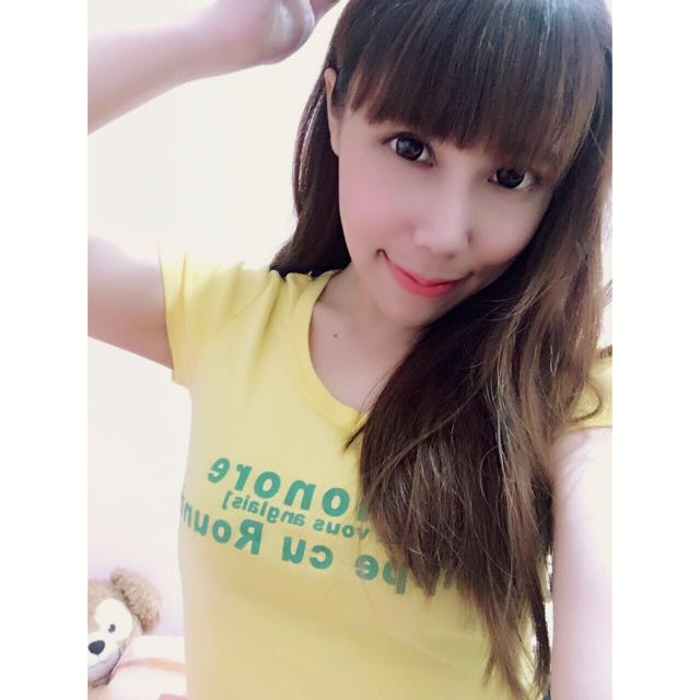 ⚫️簡約英文字體黃色上衣