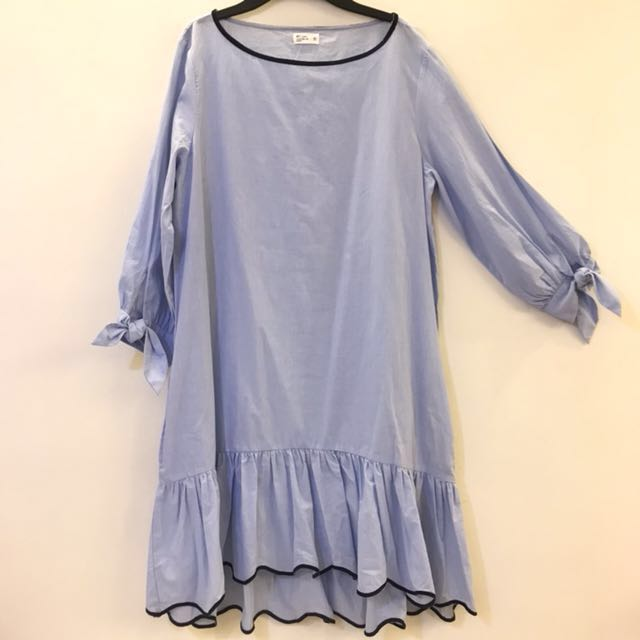 藍白條紋 七八分袖 洋裝