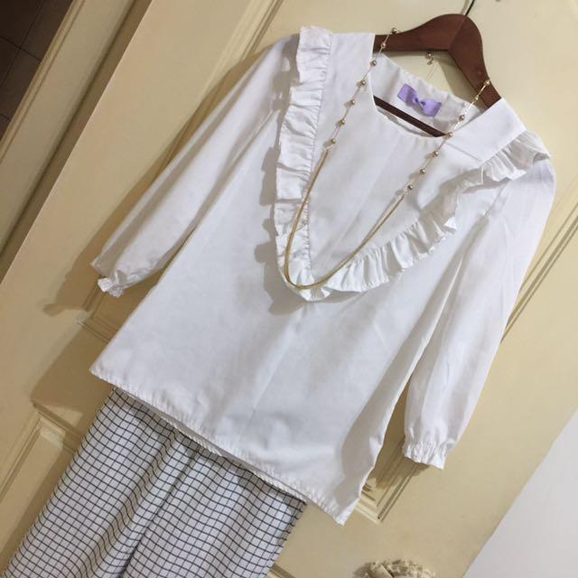 韓版 白色荷葉七分袖棉質杉 XS-S適合