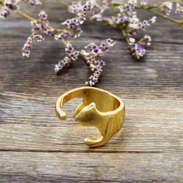【全新】日本品牌 Fun & Daily 金色貓咪環繞戒指