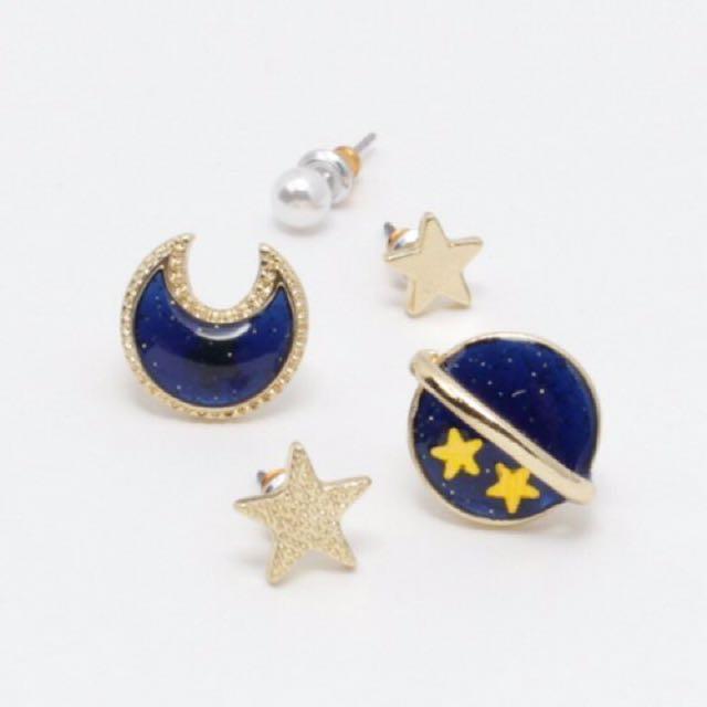 【全新】日本品牌 Fun & Daily 豐富的星星、土星、月亮、珍珠耳環