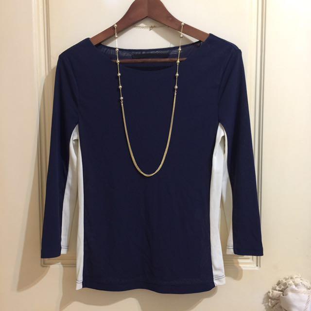 全新_giordano / ladies 藍米撞色 細網織 七分袖上衣 S