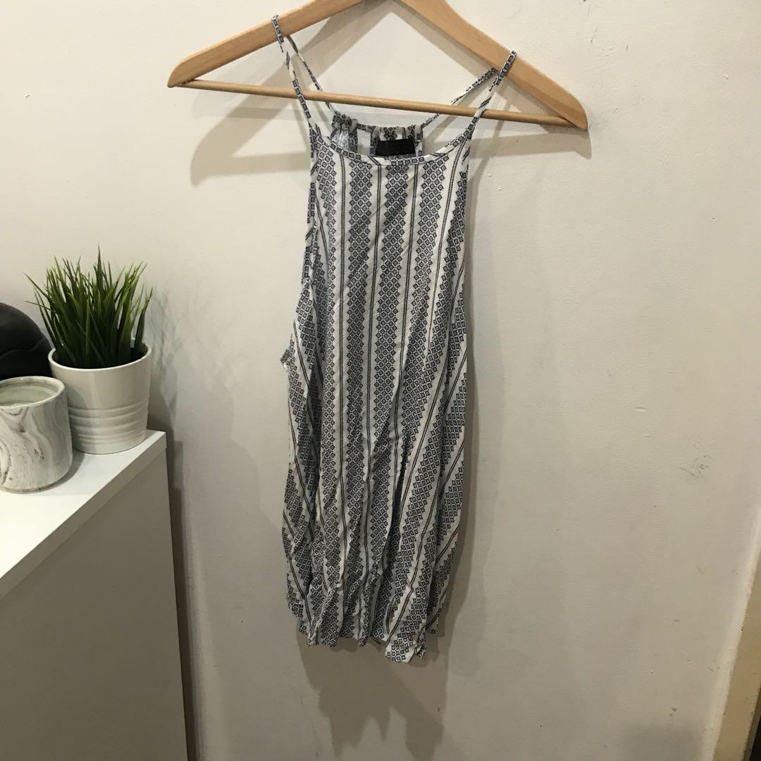 Ally Printed Blue/White Singlet - Size 14