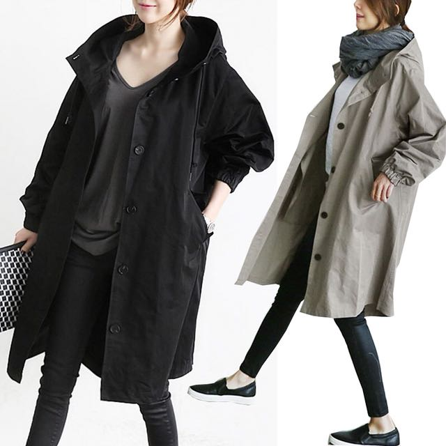 韓版女裝雜誌款BF連帽外套單排扣風衣長版大衣