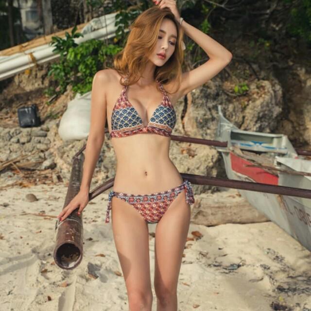 現貨復古三角圖騰比基尼復古兩件套兩件三角泳衣波西米亞民族風比基尼泳裝女bikini