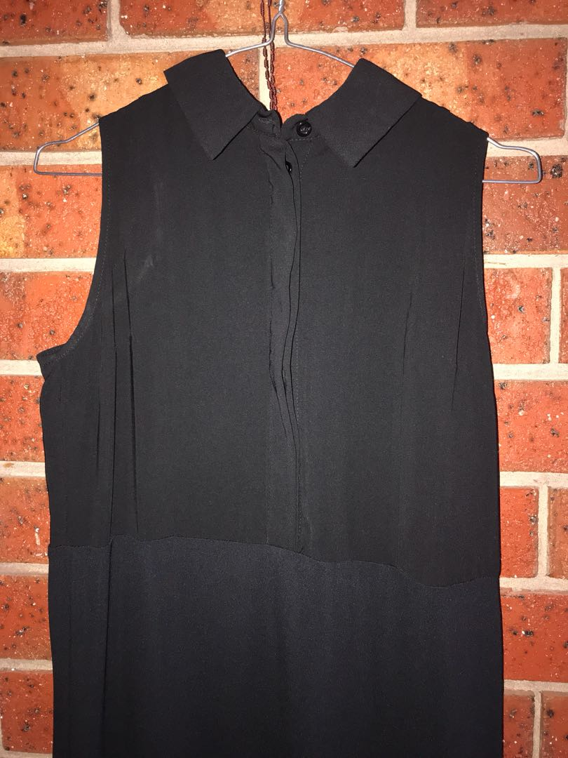 Black collared midi dress size 6