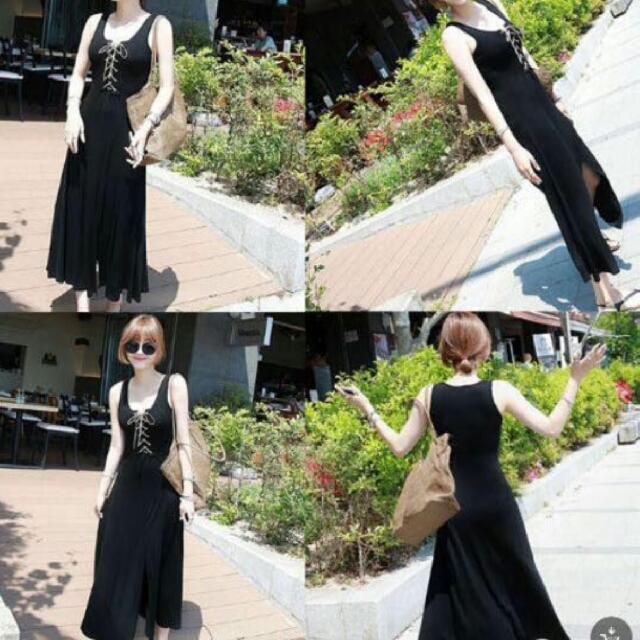 black lace up slid maxi dress