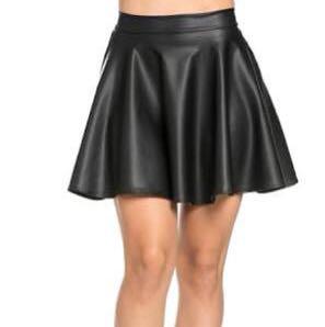 Black Leather Skater Skirt