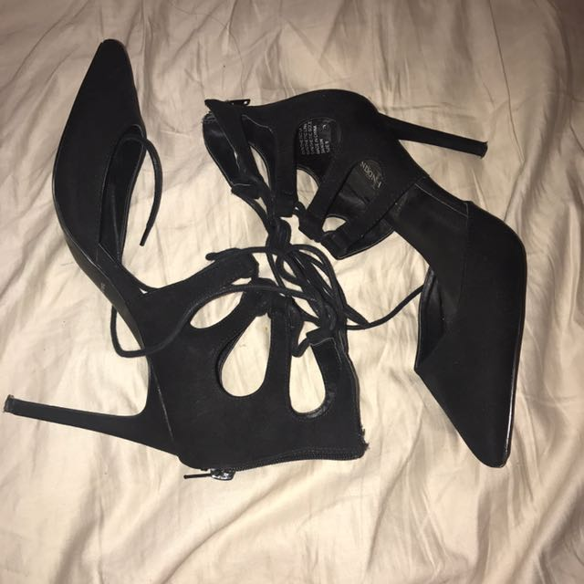 Black suede lace up heels size 8