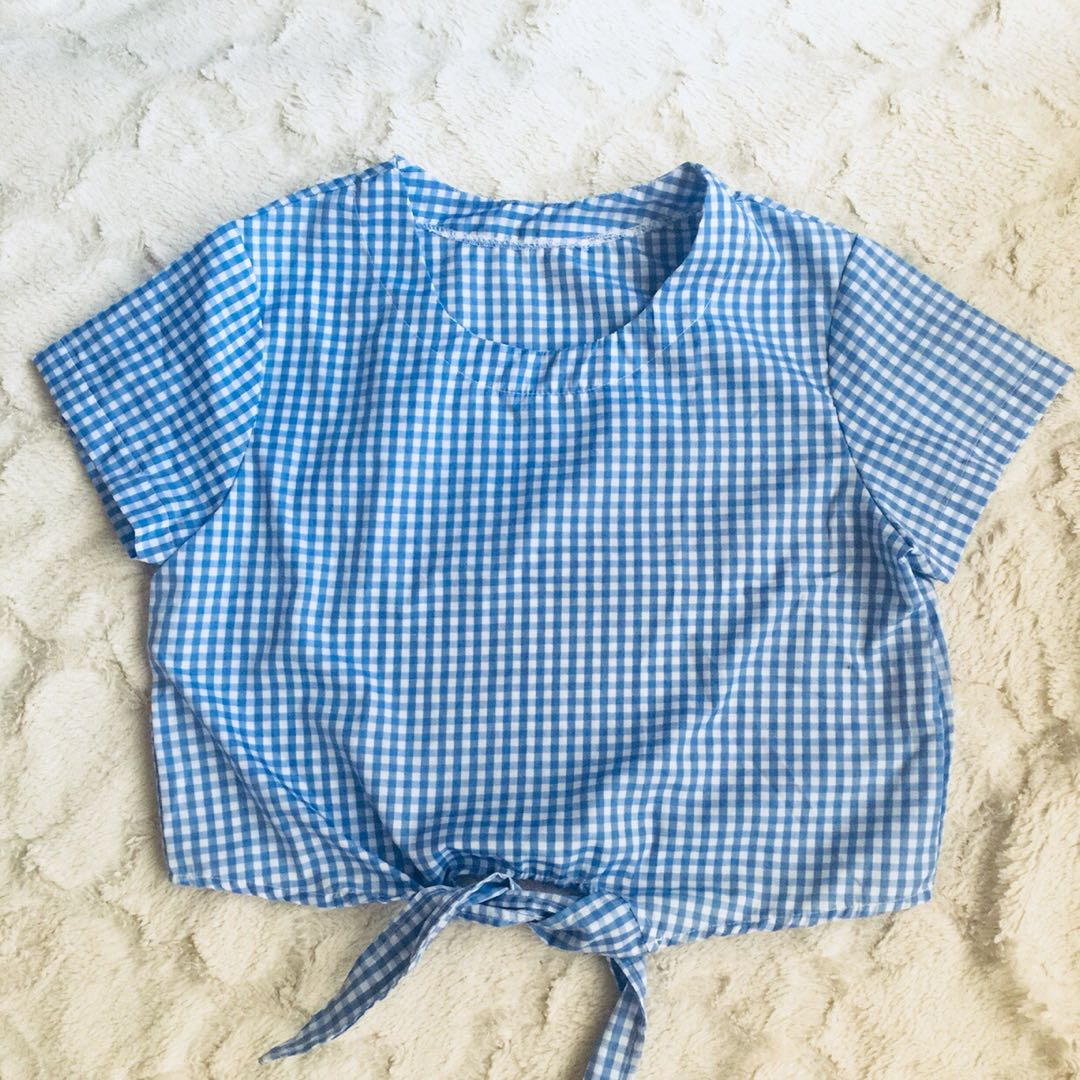 Blue Checkered Tie-Up Top