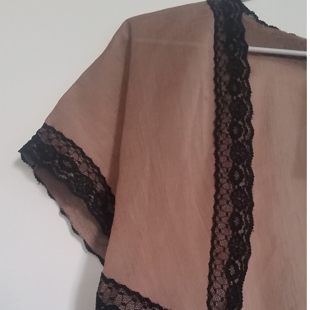 Paid $69 BNWT Brown with Black Lace - Bolero Shrug Cardigan Jacket - Size 8