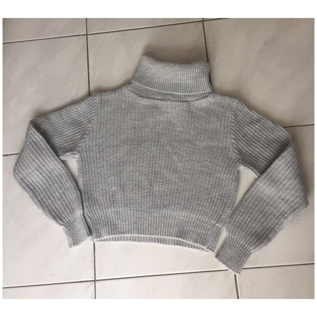 BOOHOO Knitted Grey Cropped Sweater Jumper