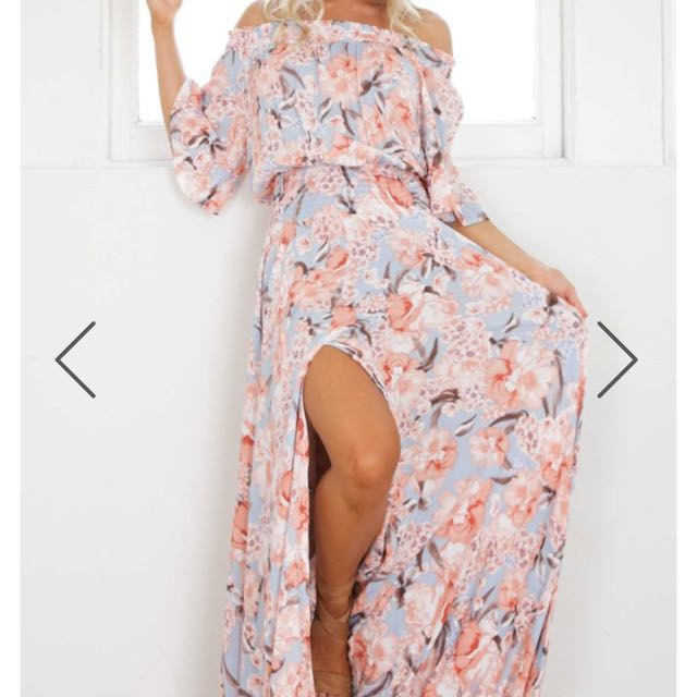 Boohoo Pink Off The Shoulder Maxi Dress NEW