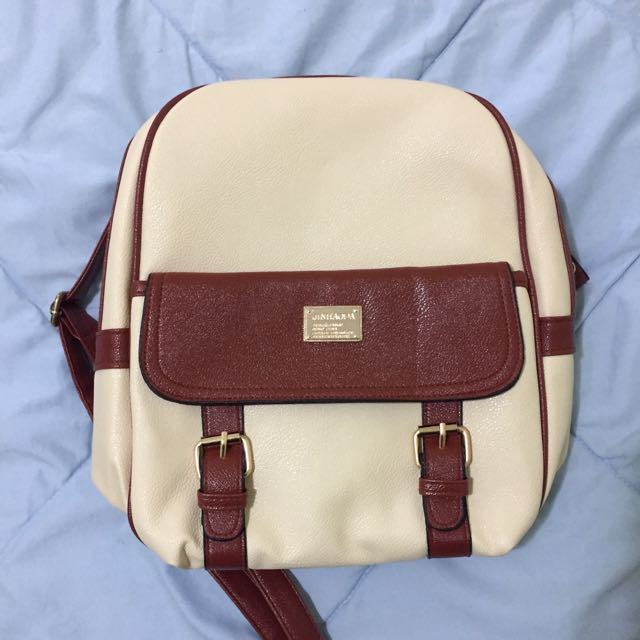 Brand new white faux leather backpack