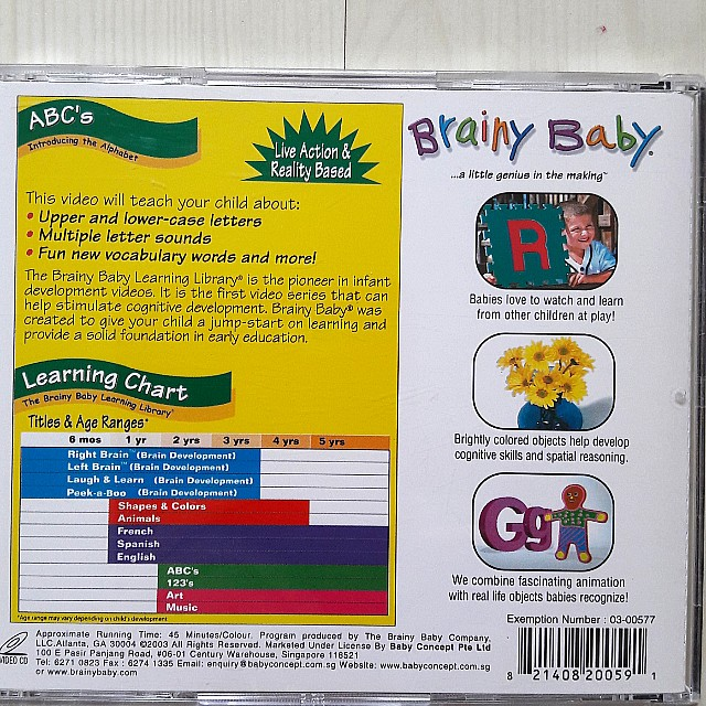 Bundle of 4 Used Brainy Baby VCDs for Toddlers, Music