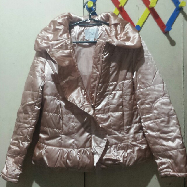 3498e1339 Champagne Pink Satin Bubble/Bomber Jacket on Carousell