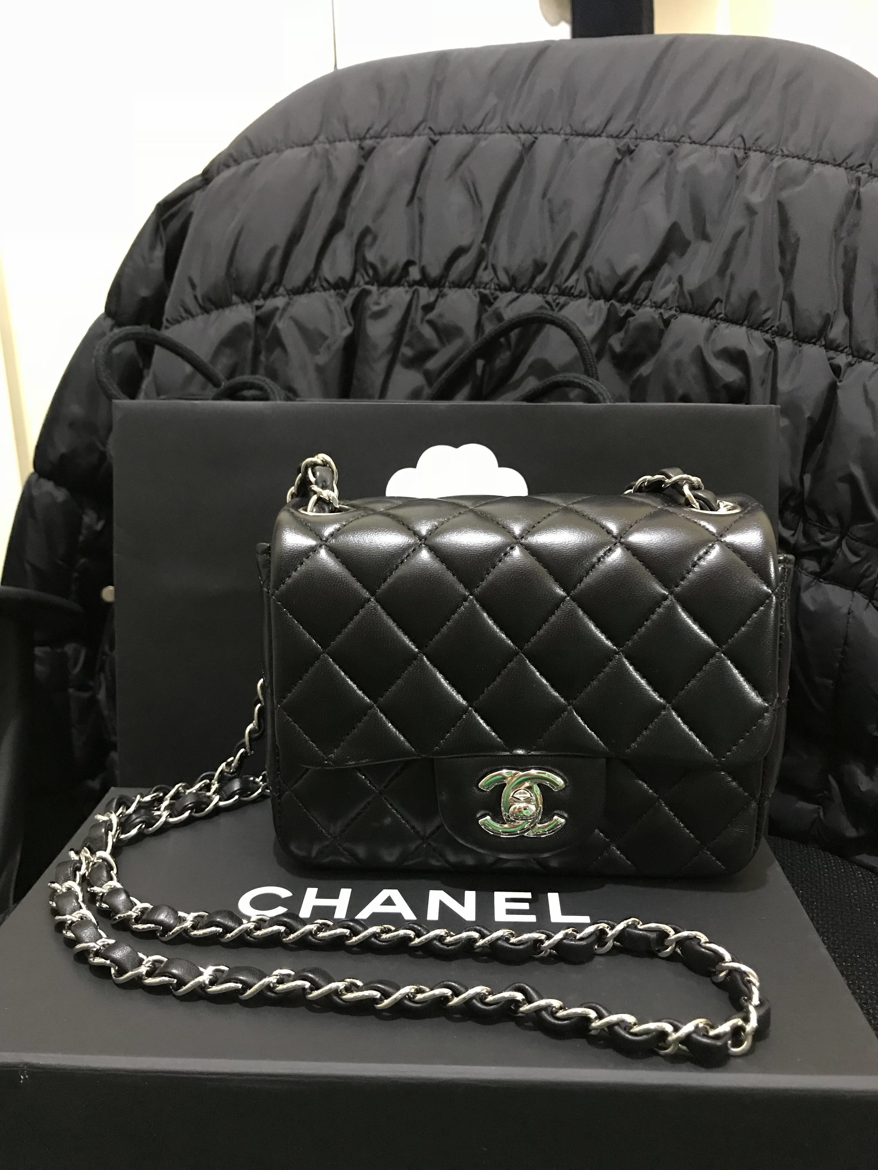 3ebbb1ccc2c4b6 Chanel mini square black lambskin 17cm, Women's Fashion, Women's Bags &  Wallets on Carousell