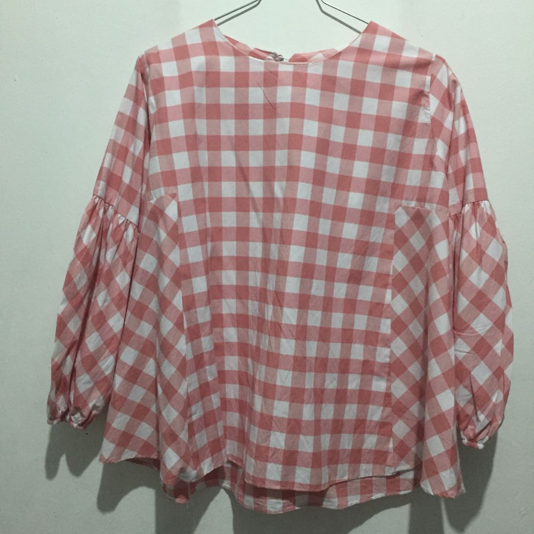 Checkered blouse top