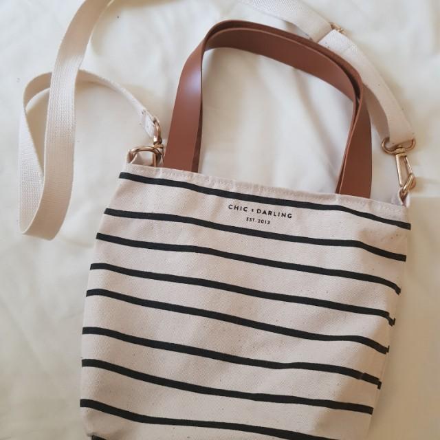 Chic & darling mini sling stripe bag