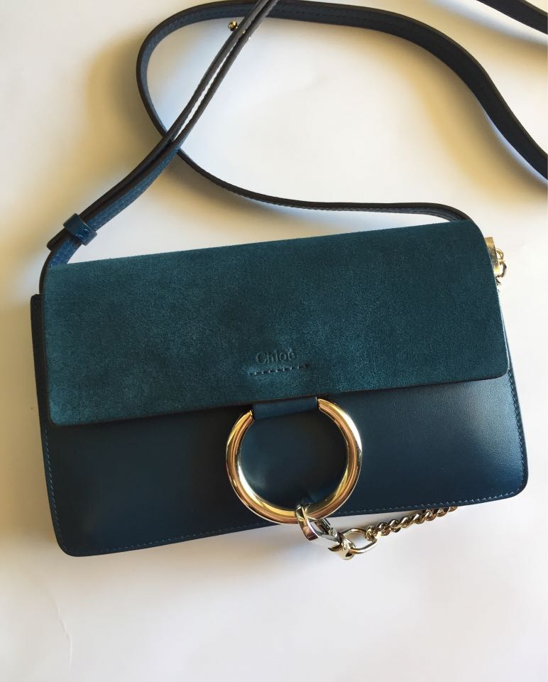 CHLOE Small Faye Suede and Calfskin Leather Shoulder Bag Majolica Blue