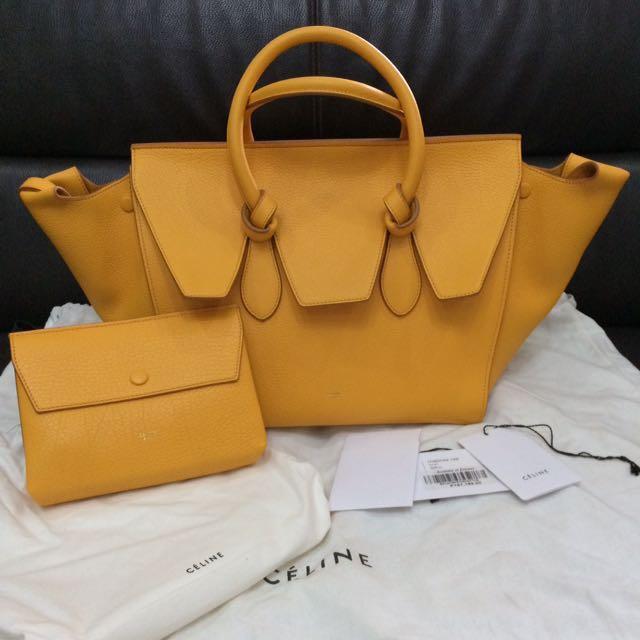 Céline Tie Handbag In Crisped Calf Skin Saffron