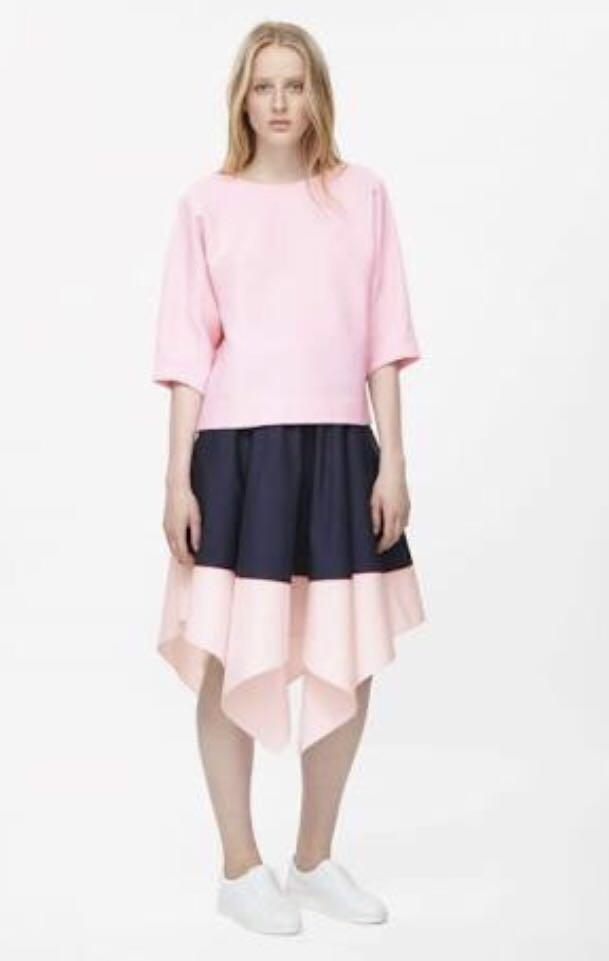 COS asymmetrical navy skirt w/ cute pink trim SZ 8 BNWOT