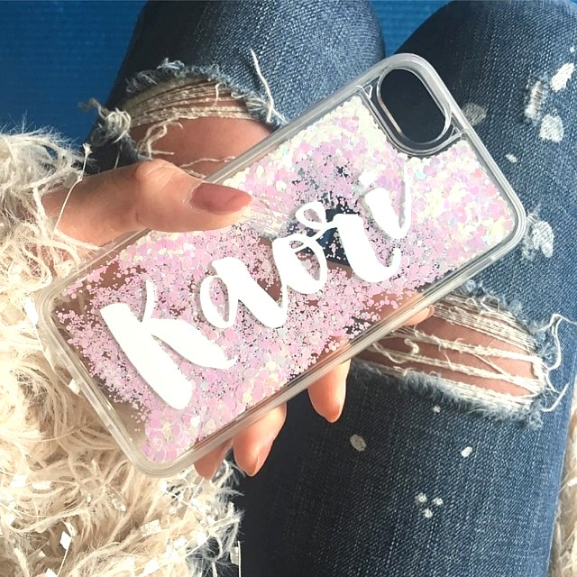 Customise Name Glitter Heart Pink Waterfall iPhone Case eb4694271f