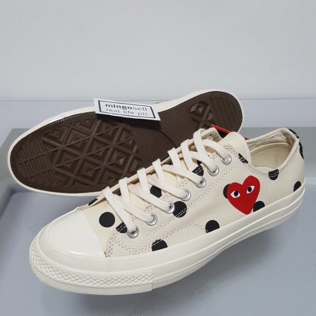 Instock ●⚪ Converse CDG PLAY Polka Dots Canvas Shoes Sneakers </p>                     </div>   <!--bof Product URL --> <!--eof Product URL --> <!--bof Quantity Discounts table --> <!--eof Quantity Discounts table --> </div>                        </dd> <dt class=