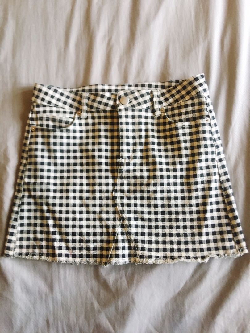 F21 Checkered Mini Skirt