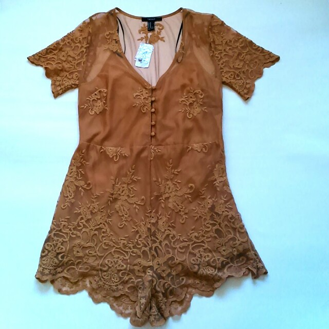 Forever21 Lace Embroidered Jumpsuit in Mustard
